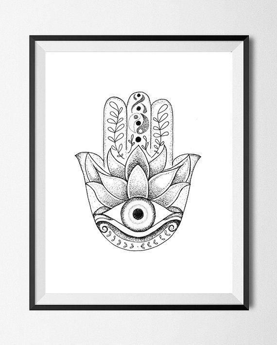 910857eae Hamsa Evil Eye Drawing Stipple Dots by JustFnRelaxx on Etsy ...
