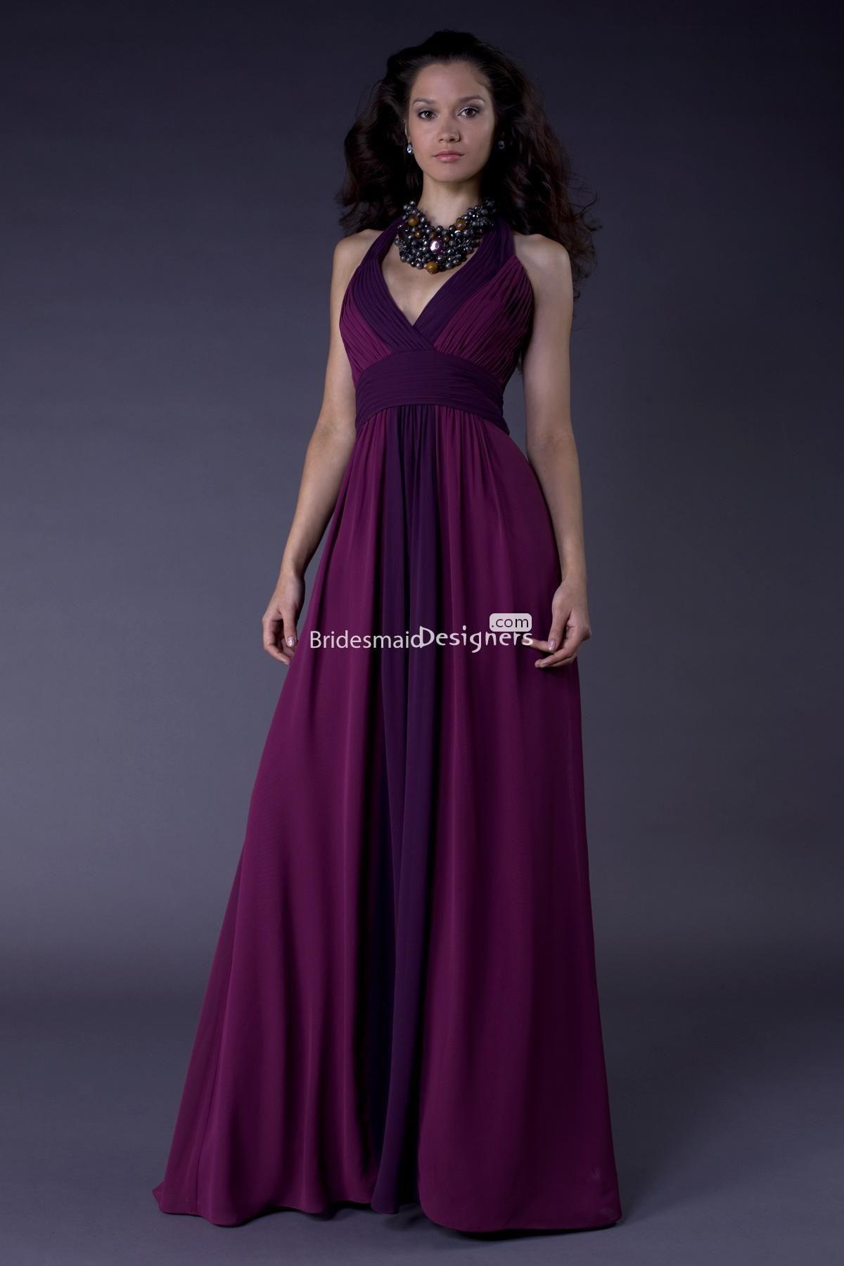 dark purple chiffon bridesmaid dresses