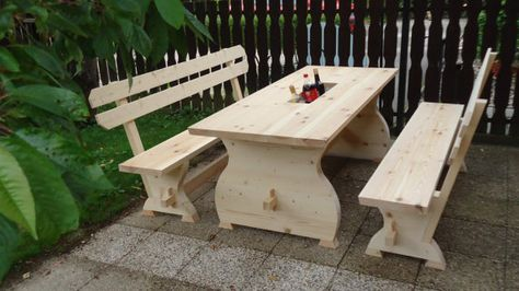Patio furniture Wooden Table & Bench with cooler