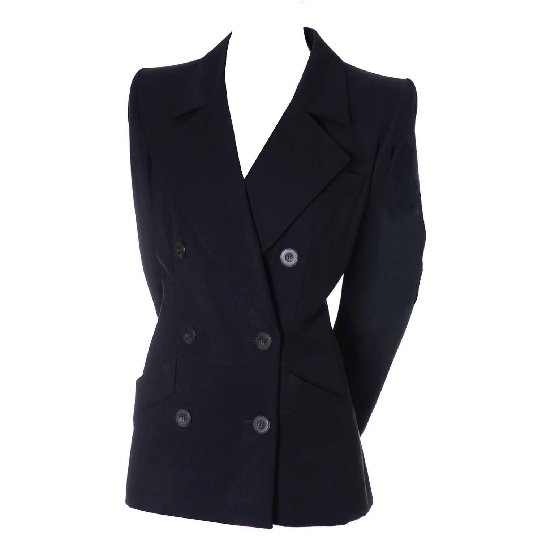 a95157f18b0 Vintage YSL Blazer Black Wool Yves Saint Laurent Size 40 US 8 | La ...