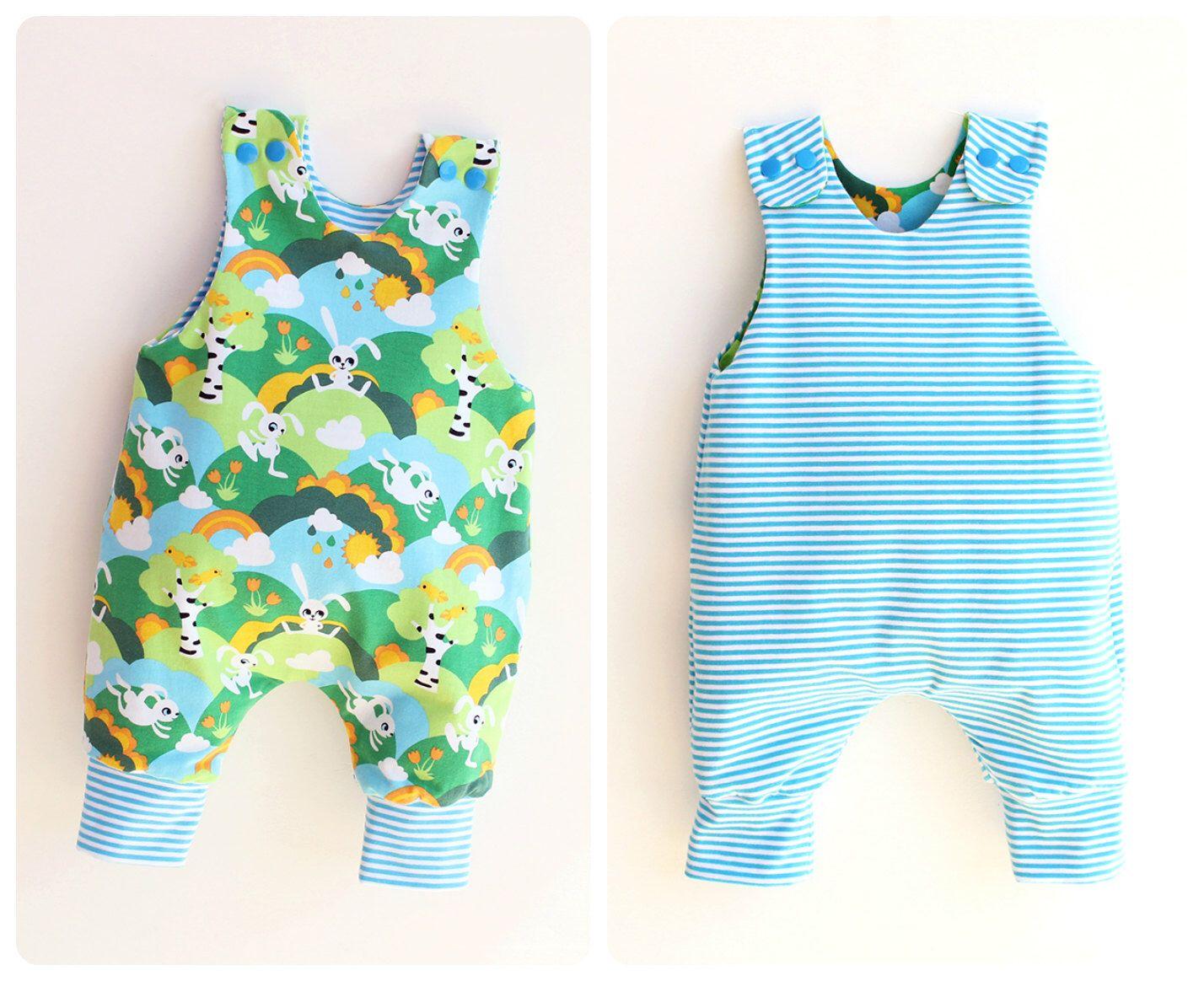 JUMPY Baby Romper sewing pattern, REVERSIBLE Harem romper pattern ...