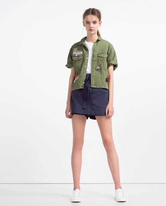 ZARA - WOMAN - SHORT OVERSHIRT WITH PATCHES