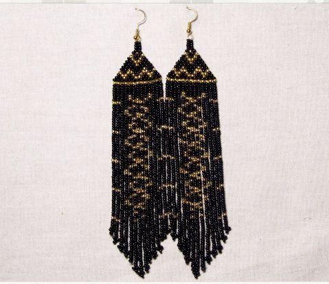Native American  Beaded Earrings  Inspired. Gold Black  Earrings. Long Earrings.  Beadwork.