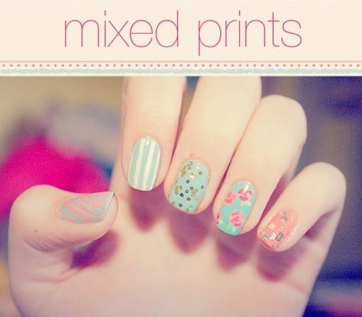 image of Mixed Print Nail Art & Design