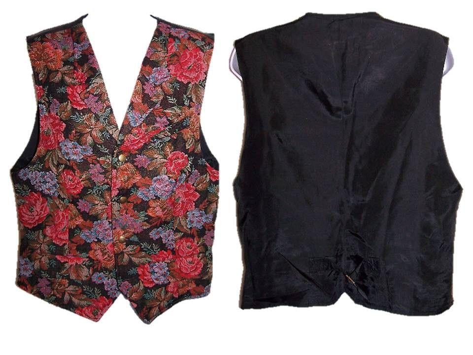 Purple Floral Formal Small Medium Large Vintage 90s Funky Velvet Vest
