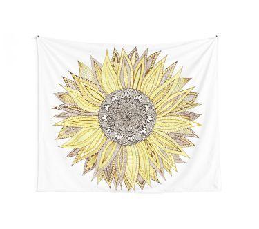 Sunflower Mandala Wall Tapestry #sunflowerbedroomideas