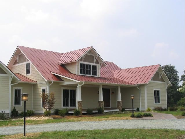 Roof And House Color Combinations Red Metal Roof What Color For Siding Trim Building A Home Forum Red Roof House House Roof Metal Roof Houses