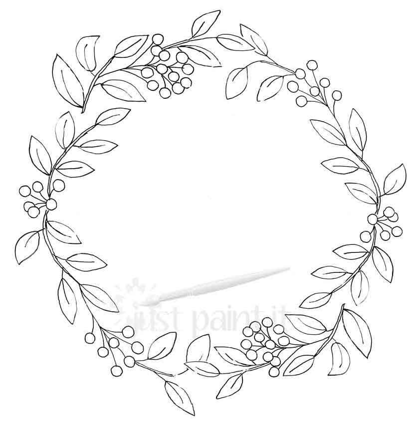 Fall Wreath Coloring Pages Kit Wreath Drawing Floral Embroidery