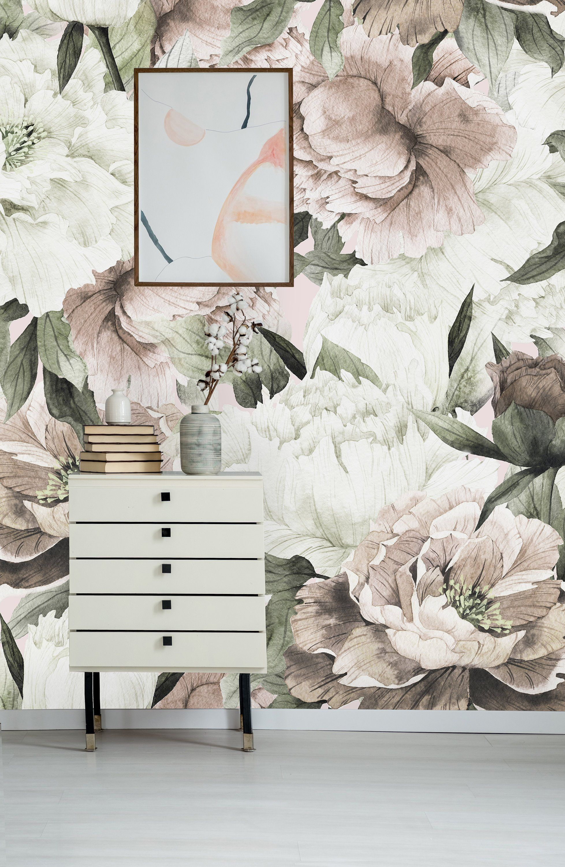Blush Spring Peonies Removable WallpaperPeel and Stick