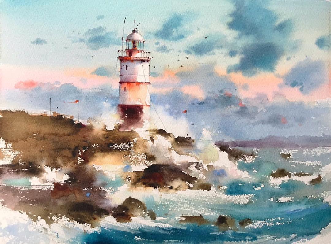 Acuarela Sobre Papel 28x38cm Watercolor Aquarelle Art Artwork