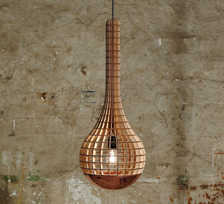 Suspension et with Copper Spinner bois naturel cuivre ˜28cm