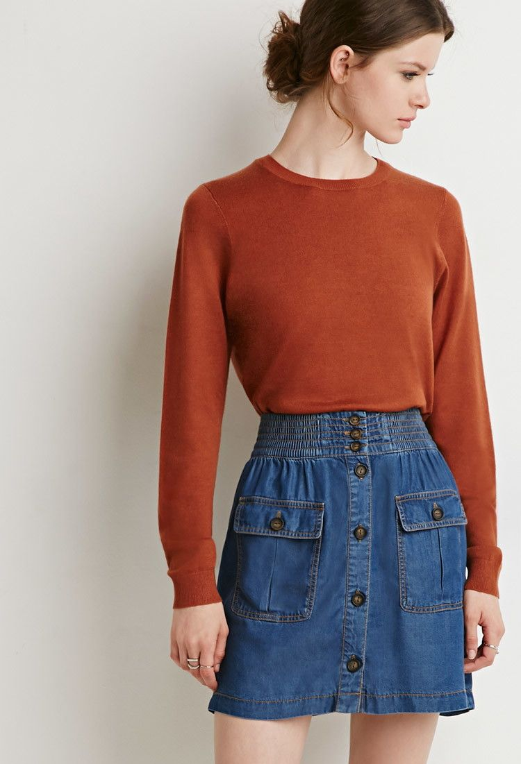 Contemporary Life in Progress Button-Down Denim Skirt | Forever 21 ...