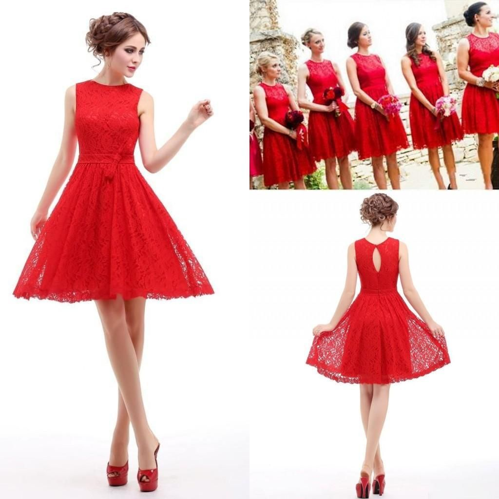Red short real image bridesmaid dresses jewel hollow and zipper red short real image bridesmaid dresses jewel hollow and zipper lace bridesmaid dresses cheap sash bow plus size party gown ombrellifo Images