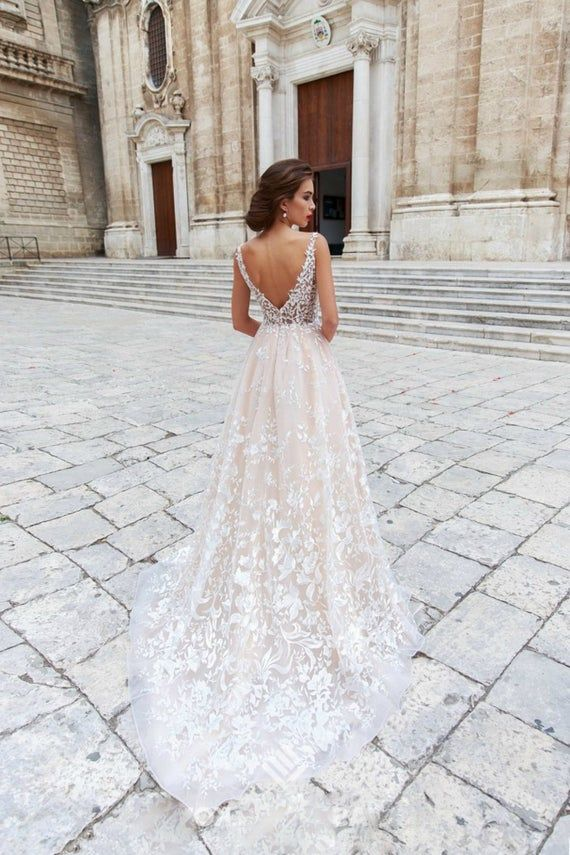 Floral wedding dress in boho style rustic wedding  long   Etsy