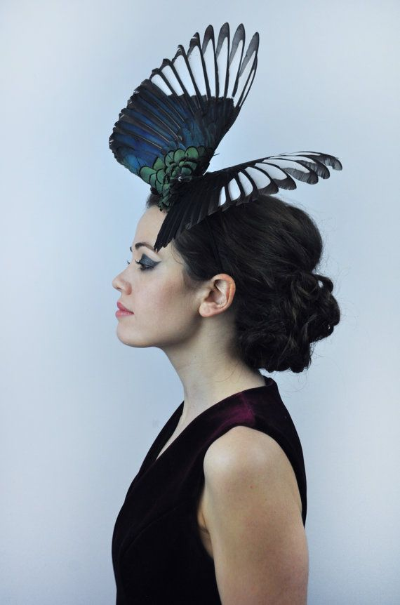 Magpie Wing Feather Fascinator in dramatic Full by FloraAndTheFox