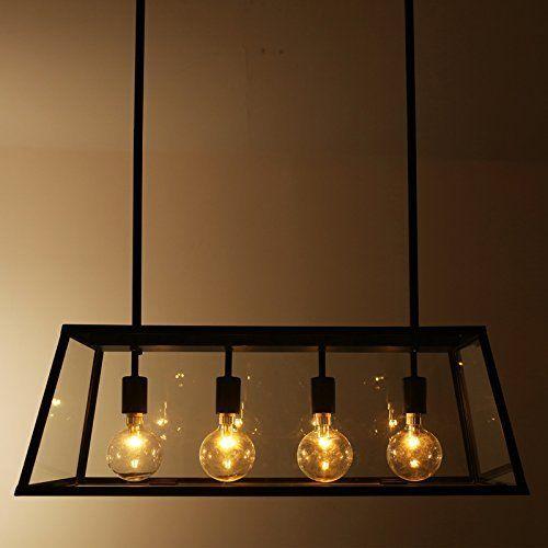 LLYY-Style loft fer table lampe verre boîtes lumineuse salle à - lustre pour salle a manger