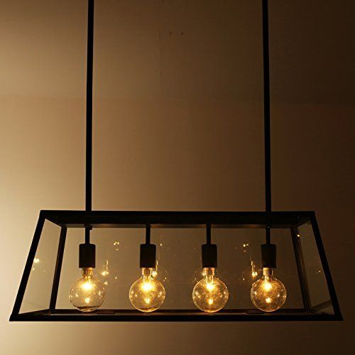 LLYY-Style loft fer table lampe verre boîtes lumineuse salle à - table salle a manger loft