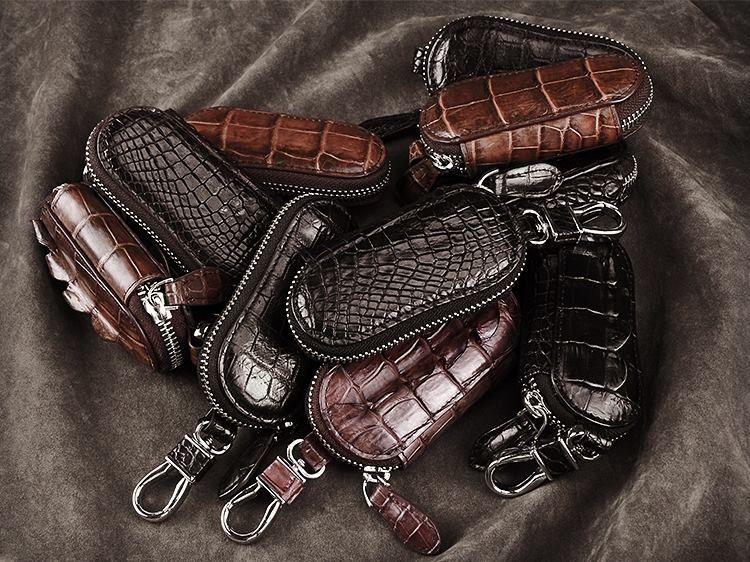 Crocodile And Alligator Leather Car Key Holder Zipper Case Wallet