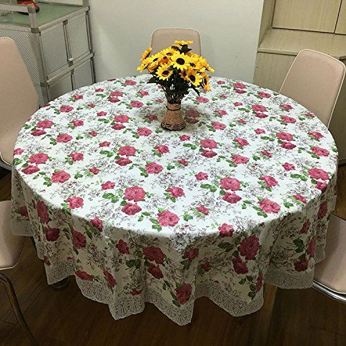 ZnzbztThick Waterproof Large Round Table Cloth Home Hotel Waterproof Oil  Resistant Iron Resting Against Money Round Table Cloth PVC Plastic Round  Table ...