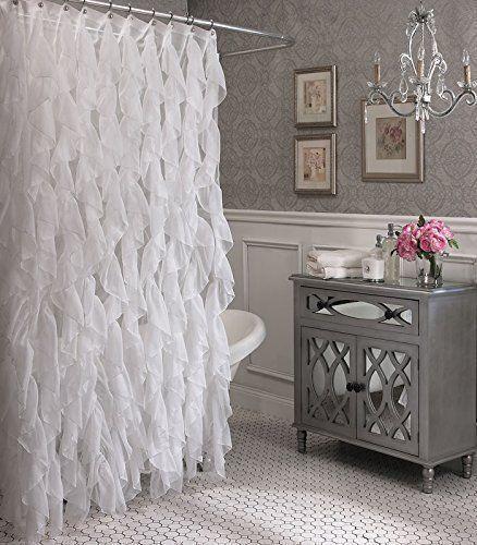 All White Bathroom Decor Xlarge Shower Ruffle Sheer Curtain Rings