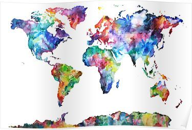 Watercolor World Map Poster World Map Wallpaper Water Color