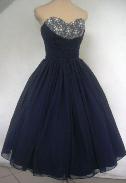 A navy chiffon and ivory lace 50s cocktail dress di elegance50s