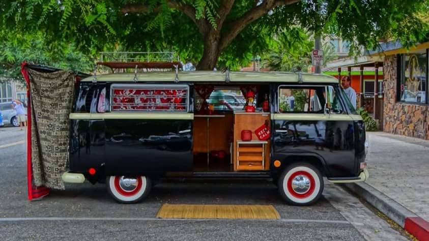 Black and Red VW Bus ◉ re-pinned by  http://www.waterfront-properties.com/indianriverplantation.php