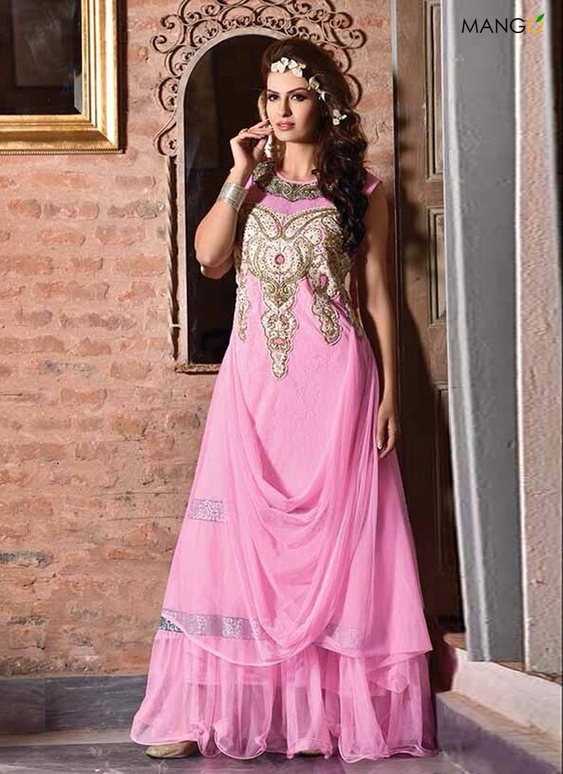 Amazing pink color full net designer gown bottom not required code