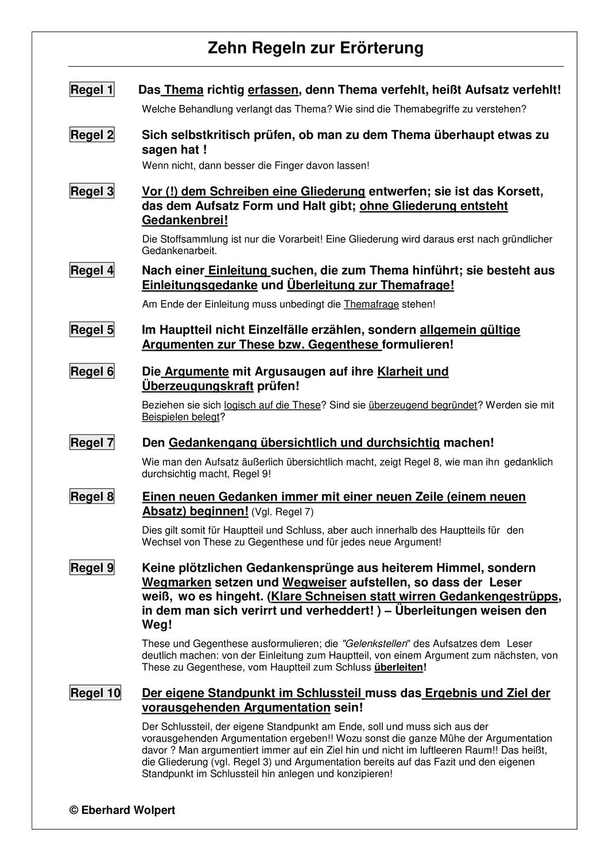Die Zehn Regeln Der Erorterung Unterrichtsmaterial Im Fach Deutsch In 2020 Deutsch Schreiben Lernen Deutsch Nachhilfe Erorterung