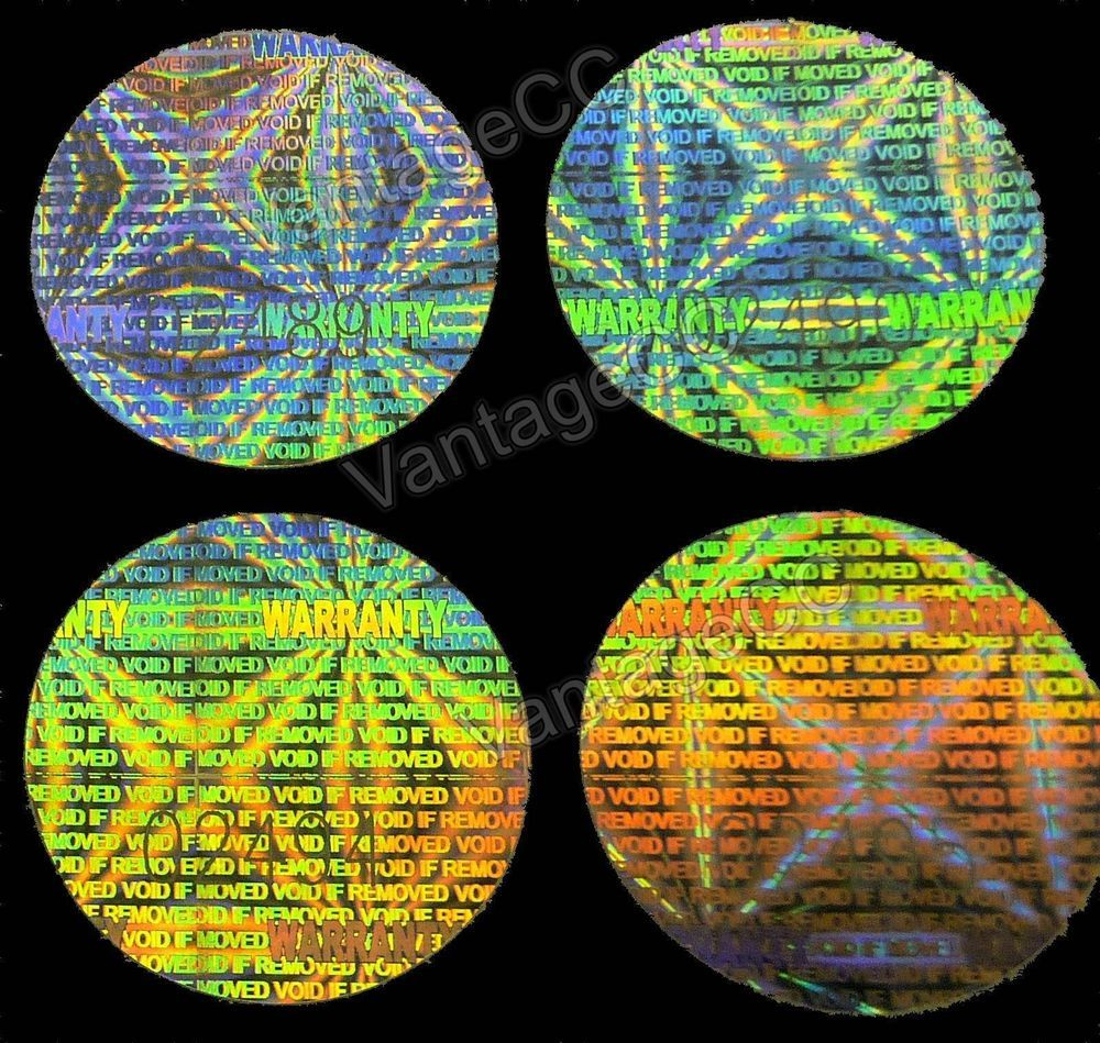 Large warranty hologram numbered stickers 25mm round