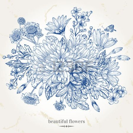 Main dessin carte vintage avec un bouquet de fleurs bleues - Dessins de bouquets de fleurs ...