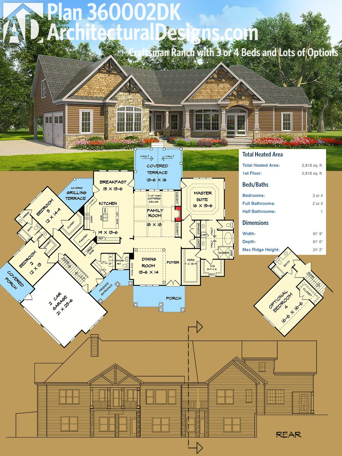 Architectural Designs Craftsman House Plan 360002DK has an angled     Architectural Designs Craftsman House Plan 360002DK has an angled garage  a split  bedroom layout and a bonus room over the garage  Over 2 800 square feet of