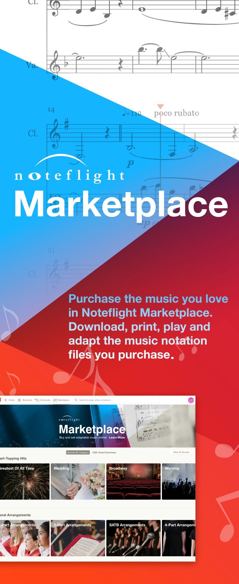 Purchase the sheet music you love in Noteflight Marketplace