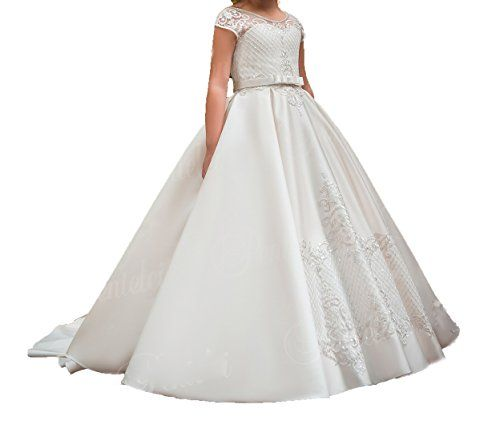 ba5769998d34c Graceprom Short Sleeves first communion dresses for girls Flower Girl Dress