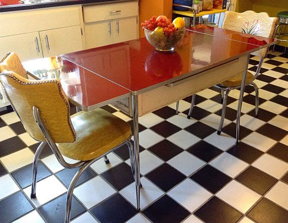 Art Deco 1930 39 S 1940 39 S Red Bakelite Top Farm Dining Table With Chrome Legs And Central Drawer Vintage Kitchen Table Farm Dining Table Retro Kitchen
