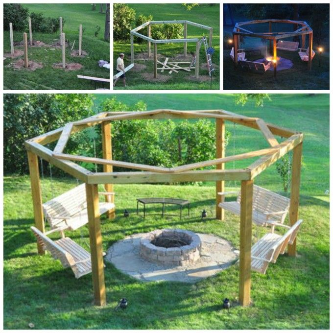 Diy porch swing fire pit these are awesome diy pallet for How to make a pallet fire pit table