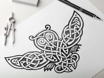 celtic owl 01 sketch owl sketches and celtic knots. Black Bedroom Furniture Sets. Home Design Ideas
