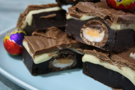 Cadburys Creme Egg Brownies x last year I made these without the topping x this yr they will be topped x