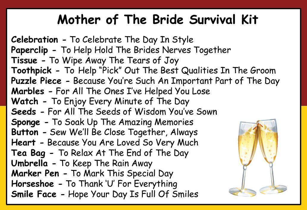 Mother Of The Bride Survival Kit In A Can. Humorous