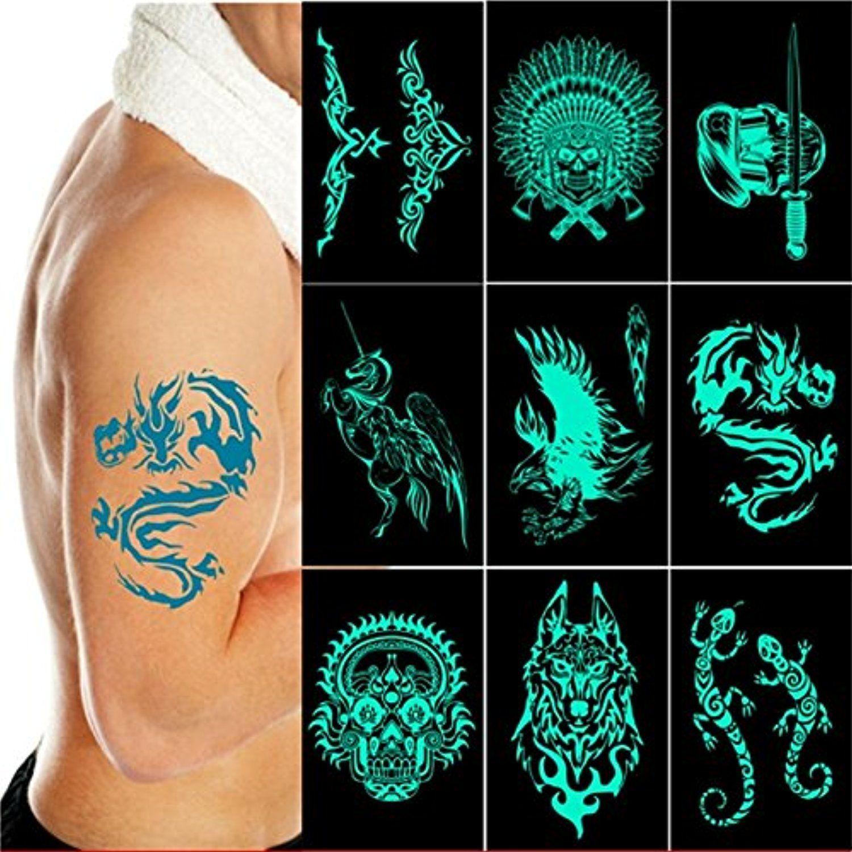 8 Sheets Glow In The Dark Tribal Metallic Flash Temporary Tattoos Over 120 Body Jewelery Stickers Temporary Tattoo Body A Flash Tattoo Tattoos Tattoo Stickers