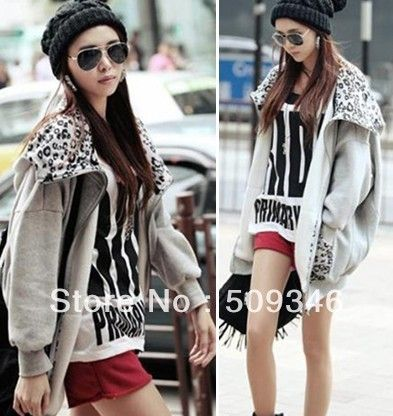 Fashion Women Ladies Girls Grey Cardigan Hoodies Sweatshirts Jackets Coats Leopard Patchwork Loose Tunic Batwing Spring Autumn  $21.40