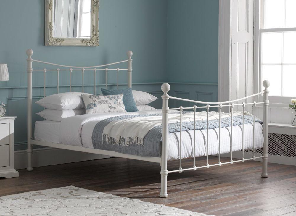 Duck Egg Blue Bedroom With White Metal Bedframe White Bed Frame