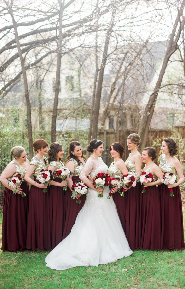Burgundy And Gold Bridesmaids Dresses Burgundy And Blush Gold