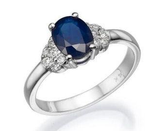 6e457fc2db34 Azul zafiro anillo de compromiso en oro blanco por SlowackJewelry ...