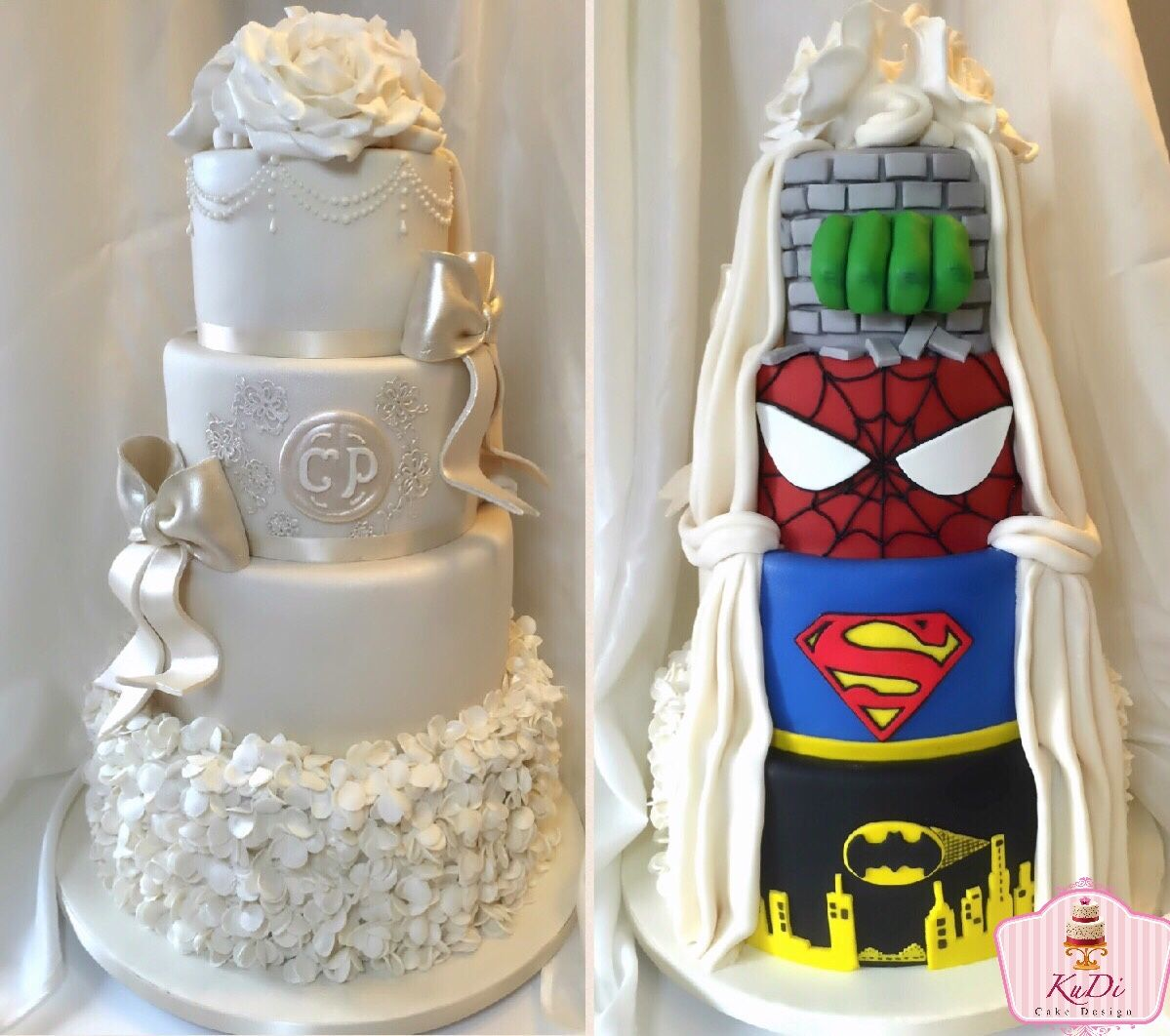 Two-Sided Superheroes Wedding Cake... Lot of fun (and endless nights ...