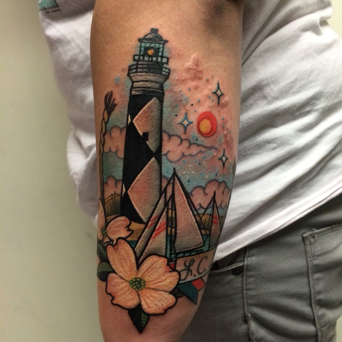 Lighthouse tattoos by noelle lamonica divine machine for Tattoo buffalo ny
