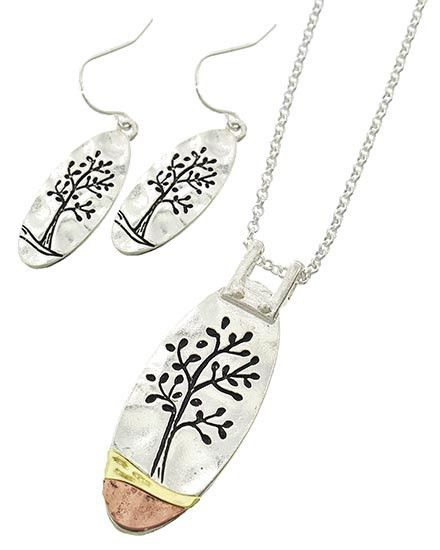 Tree of Life Earring, Pendant, and Necklace Set