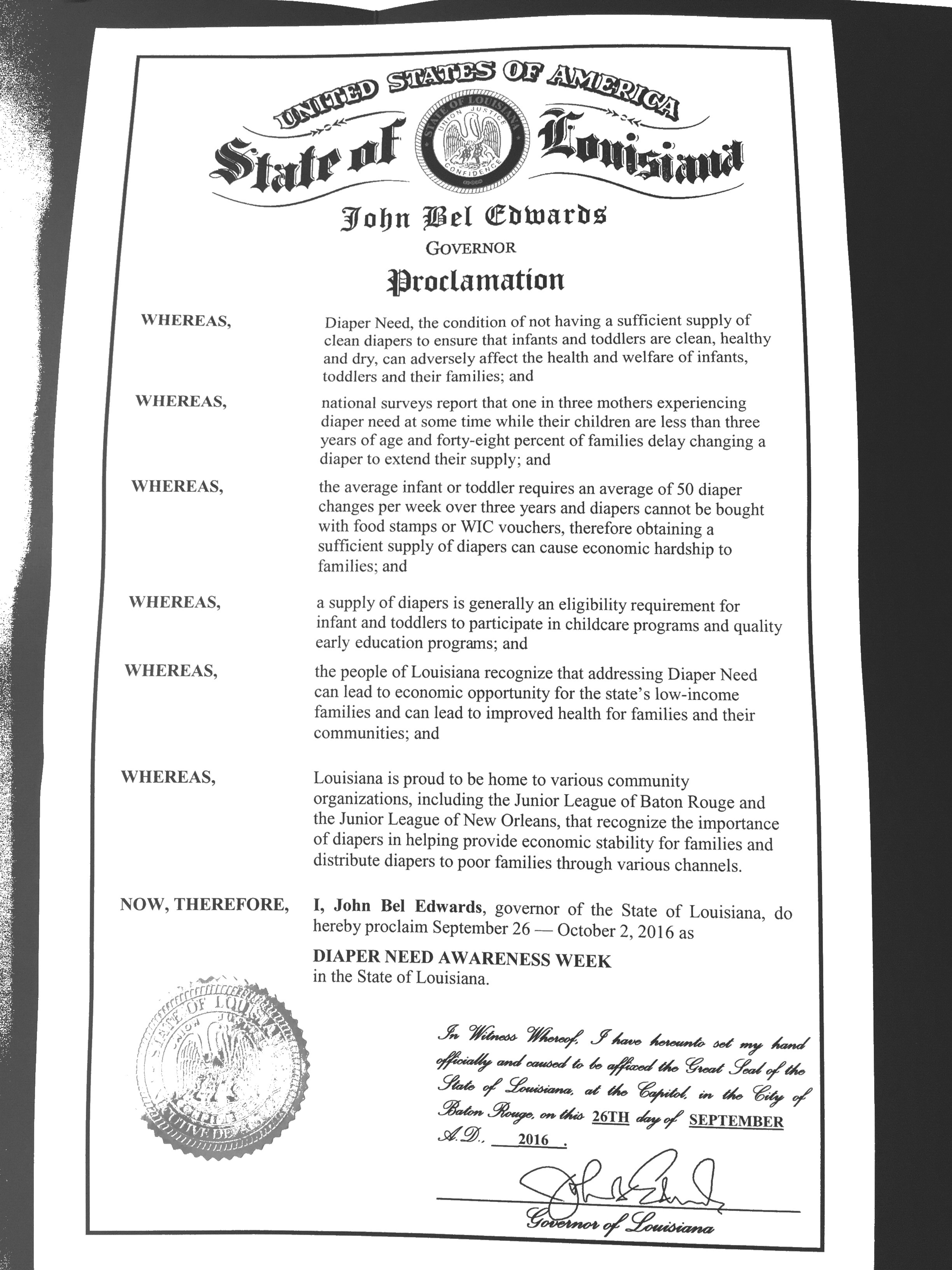LOUISIANA - Governor John Bel Edwards' proclamation recognizing Diaper Need Awareness Week (Sep. 26 - Oct. 2, 2016) #diaperneed diaperneed.org