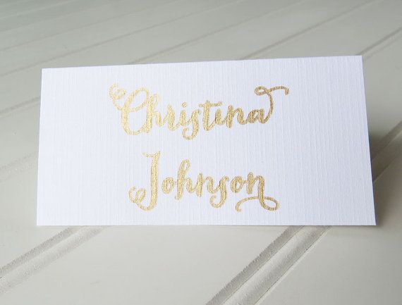 25 Gold And White Place Cards