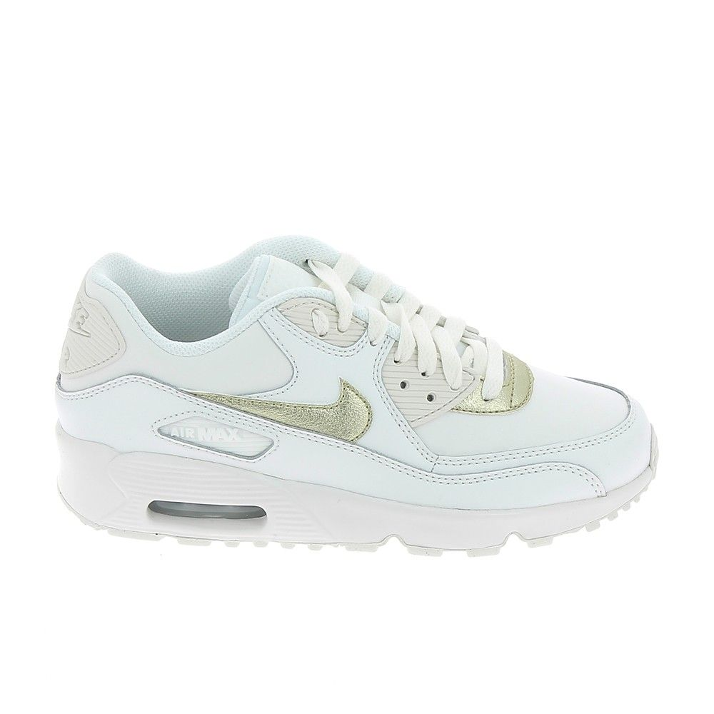 outlet store d79ba bb0ec NIKE Air Max 90 LTR Jr Blanc Or